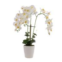 Floare artificiala T-0020, orhidee alb + galben, 70 cm