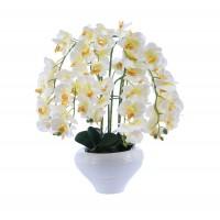 Floare artificiala T02 A, orhidee alb + galben, 60 cm