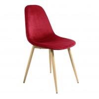 Scaun bucatarie / living fix Charlton, tapitat, otel stejar + material textil rosu