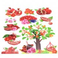 Sticker decorativ perete, bucatarie, model fructe si legume, D1192, 60 x 35 cm