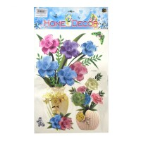 Sticker decorativ perete, bucatarie / living / hol, model flori si fluturi, D1196, 60 x 35 cm