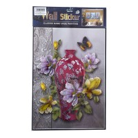 Sticker decorativ perete, bucatarie / living / hol, model flori si fluturi, D1199, 61 x 37 cm