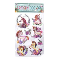 Sticker decorativ perete, camera copii / living, model flamingo si unicorn, D1202, 55 x 36 cm