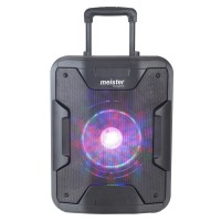 Boxa portabila activa Meister Hausgerate HRH-180D, 80 W, Bluetooth, USB, Aux in, intrare pentru microfon, intrare pentru chitara, radio FM, functie True Wireless Stereo, negru, troler inclus