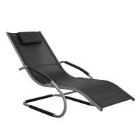 Sezlong plaja Relax 40199TB2, structura metal, negru, 152 x 62 x 89 cm