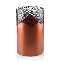 Vaza sticla decorativa, tip cilindru, Elise 2012/15, cupru + bronz, 20 x 12 cm