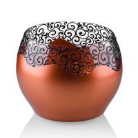 Vaza sticla decorativa, tip bol, Elise 0/15, cupru + bronz, 15 x 16 cm