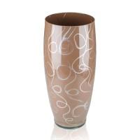 Vaza sticla decorativa, Bella J/BEL, maro + argintiu, 30 x 13 cm