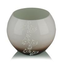 Vaza sticla decorativa, tip bol, Grace 0/17, alb + maro, 15 x 16 cm