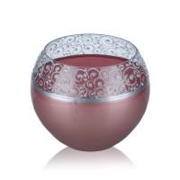 Vaza sticla decorativa, tip bol, Rose 0/004, roz + argintiu, 15 x 16 cm