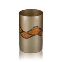 Vaza sticla decorativa, tip cilindru, Aurora 2012/003, auriu + bronz, 20 x 12 cm