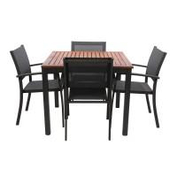 Set masa patrata, cu 4 scaune, pentru gradina Ragusa, din metal + lemn