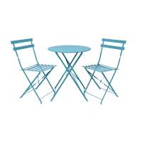 Set masa rotunda, cu 2 scaune, pentru gradina Bistro Roma, pliant, din metal, albastru