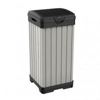 Cos pentru gunoi Rockford, cu capac, pentru exterior, PVC, gri maroniu, 125 l