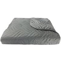 Cuvertura de pat + fete de perna, poliester, 210 x 250 cm, gri