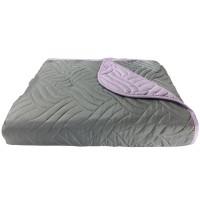 Cuvertura de pat + fete de perna, poliester, 210 x 250 cm, gri / mov