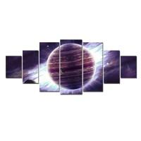 Tablou canvas, dualview, pe panza, 7MULTICANVA153, Planeta violet, 7 piese, 100 x 240 cm