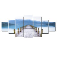 Tablou canvas, dualview, pe panza, 7MULTICANVAS156, Ponton, 7 piese, 100 x 240 cm