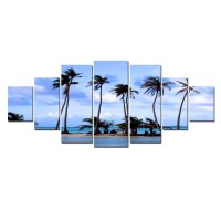 Tablou canvas, dualview, pe panza, 7MULTICANVAS168, Palmieri pe plaja, 7 piese, 100 x 240 cm