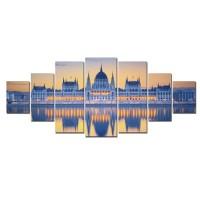 Tablou canvas, dualview, pe panza, 7MULTICANVAS177, Palatul oglindit, 7 piese, 100 x 240 cm