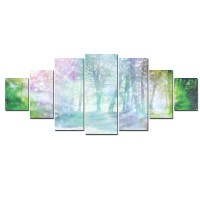 Tablou canvas, dualview, 7MULTICANVAS178, Padurea pastelata, 7 piese, 100 x 240 cm