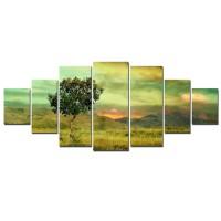 Tablou canvas, dualview, pe panza, 7MULTICANVAS183, Copac singuratic, 7 piese, 100 x 240 cm