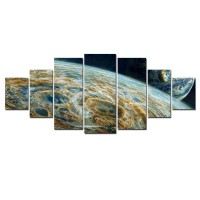 Tablou canvas, dualview, pe panza, 7MULTICANVAS186, Planeta colorata, 7 piese, 100 x 240 cm
