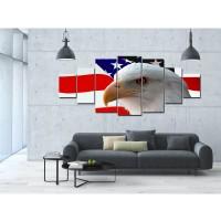 Tablou canvas, dualview, pe panza, 7MULTICANVAS188, Vultur american, 7 piese, 100 x 240 cm