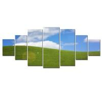 Tablou canvas, dualview, pe panza, 7MULTICANVAS195, Camp verde, 7 piese, 100 x 240 cm