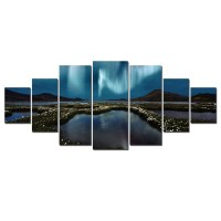 Tablou canvas, dualview, pe panza, 7MULTICANVAS200, Aurora boreala, 7 piese, 100 x 240 cm