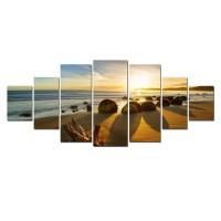 Tablou dualview 7MULTICANVAS111, 7 piese, Rasarit la plaja, canvas + lemn de brad