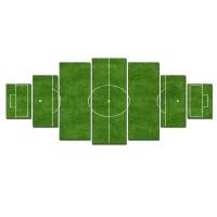 Tablou dualview 7MULTICANVAS115, 7 piese, Teren de fotbal, canvas + lemn de brad