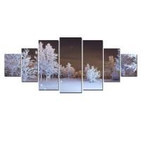 Tablou dualview 7MULTICANVAS116, 7 piese, Noapte de iarna, canvas + lemn de brad