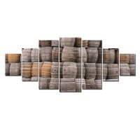 Tablou dualview 7MULTICANVAS120, 7 piese, Butoaie, canvas + lemn de brad