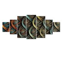 Tablou dualview 7MULTICANVAS128, 7 piese, Compozitie abstracta, canvas + lemn de brad