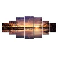 Tablou dualview 7MULTICANVAS140, 7 piese, Apus violet pe lac, canvas + lemn de brad