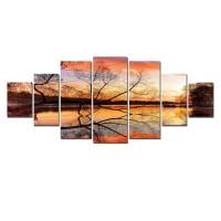 Tablou dualview 7MULTICANVAS144, 7 piese, Ramuri de copac, canvas + lemn de brad