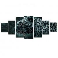 Tablou dualview 7MULTICANVAS152, 7 piese, Eleganta felina, canvas + lemn de brad