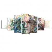 Tablou dualview 7MULTICANVAS156, 7 piese, Femeie abstracta, canvas + lemn de brad