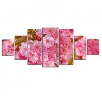 Tablou dualview 7MULTICANVAS167, 7 piese, Flori roz, canvas + lemn de brad