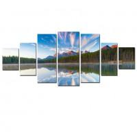 Tablou dualview 7MULTICANVAS074, 7 piese, Reflexia muntelui, canvas + lemn de brad