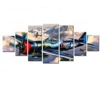 Tablou dualview 7MULTICANVAS080, 7 piese, Zbor de fier, canvas + lemn de brad