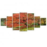 Tablou dualview 7MULTICANVAS085, 7 piese, Artar japonez, canvas + lemn de brad