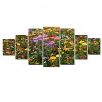 Tablou dualview 7MULTICANVAS092, 7 piese, Camp cu flori, canvas + lemn de brad