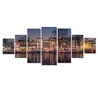 Tablou dualview 7MULTICANVAS097, 7 piese, Amsterdam, canvas + lemn de brad