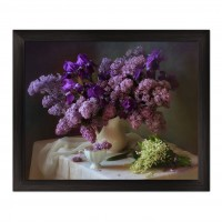 Tablou 03173, inramat, pe panza, stil clasic, Flori de liliac, 40 x 50 cm
