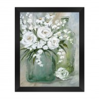 Tablou 03466, inramat, pe panza, stil clasic, Vaza cu trandafiri, 40 x 50 cm