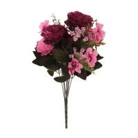 Buchet flori artificiale, YWGQ106, mov + roz, 48 cm