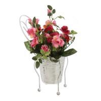 Aranjament flori artificiale 3367, trandafiri, diverse culori, 26 cm
