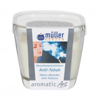 Lumanare pahar Muller, alb, aroma antitabac, H 7 cm